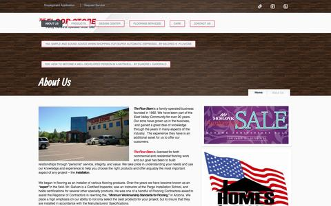 Screenshot of About Page floorstoreaz.com - Servicing Arizona State-wide and East Valley;Gilbert, Mesa, Scottsdale, Tempe, Queen Creek for Flooring sales and Installation | The Floor Store - captured Nov. 3, 2014