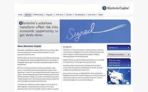 Screenshot of About Page blenheimcapital.net - Blenheim Capital Partners - captured Oct. 5, 2014