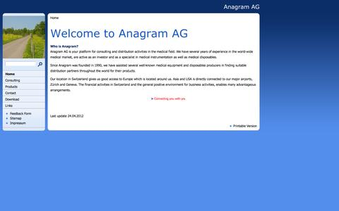 Screenshot of Home Page anagram.ch - Welcome to Anagram AG - captured Oct. 4, 2014