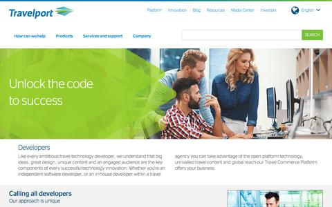 Screenshot of Developers Page travelport.com - Developers | Travelport - captured March 21, 2018