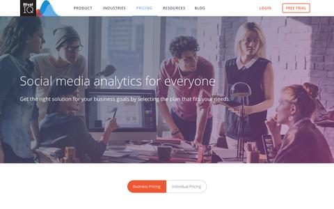 Screenshot of Pricing Page rivaliq.com - Plans and Pricing for Social Analytics   Rival IQ - captured April 20, 2017