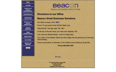 Screenshot of Maps & Directions Page beaconsmallbiz.com - Bookkeeping, Tax, Payroll, Accounting and Business Consulting in Fort Mill, SC|Directions - captured Oct. 5, 2014