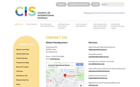 Screenshot of Contact Page cois.org - Contact CIS - CIS Council of Schools - captured Dec. 15, 2018