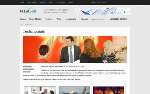 Screenshot of Testimonials Page team360.info - Testimonials  | Team360 Ltd - captured Oct. 7, 2014