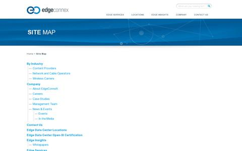 Screenshot of Site Map Page edgeconnex.com - Site Map   EdgeConneX - captured July 19, 2014