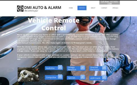 Screenshot of Services Page dmiauto.com - Car Remote Starters | Boston | DMI Auto And Alarms - captured Nov. 2, 2018