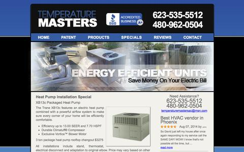 Screenshot of Pricing Page temperaturemasters.com - Specials for trane and ac installations in Glendale - captured Oct. 7, 2014