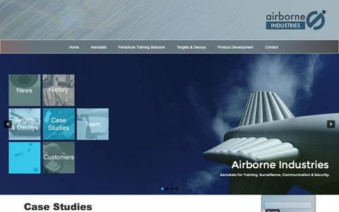 Screenshot of Case Studies Page airborne-industries.ltd.uk - Case Studies | Product Development and Products | Airborne Industries - captured Nov. 20, 2016