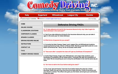 Screenshot of FAQ Page comedyoffensivedriving.com - Defensive Driving Houston - Comedy Driving Safety Course In Texas - captured June 17, 2016