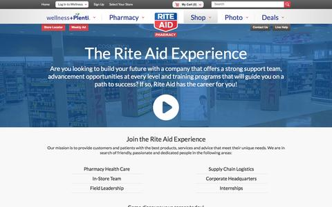 Screenshot of Jobs Page riteaid.com - Careers - captured Oct. 25, 2016