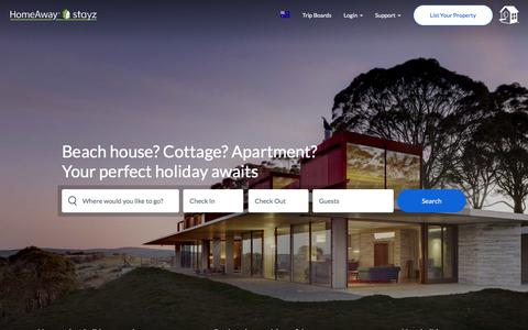 Screenshot of Home Page homeaway.com.au - Accommodation & Holiday Rentals From HomeAway - captured May 21, 2018