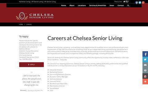 Screenshot of Jobs Page chelseaseniorliving.com - Careers | Chelsea Management Group | Chelsea Senior Living - captured Sept. 29, 2014