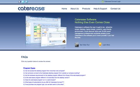 Screenshot of FAQ Page caterease.com - Catering Software, Event Management Software for professionals - FAQs - captured Nov. 4, 2014