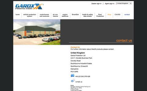 Screenshot of Contact Page gardx.co.uk - Welcome to GardX - Contact - captured Oct. 2, 2014