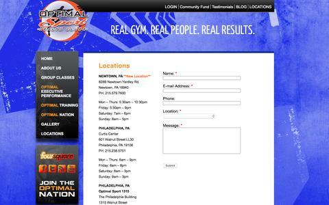 Screenshot of Locations Page optimalsporthealthclubs.com - Newtown Philadelphia PA Burlington NJ Gym Optimal Sport Health Clubs | Optimal Sport Heath Clubs - captured Jan. 10, 2016
