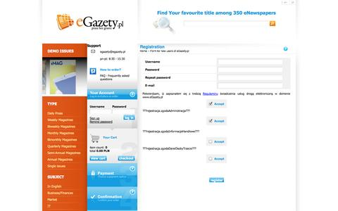 Screenshot of Signup Page egazety.pl - eGazety.pl, - captured Sept. 19, 2014