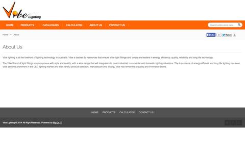 Screenshot of About Page vibelighting.com.au - About - captured Oct. 26, 2014