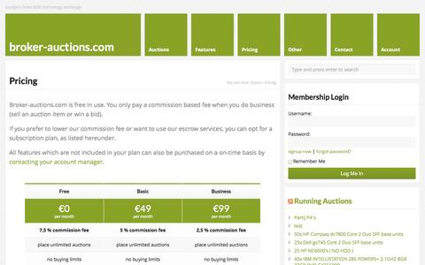 Screenshot of Pricing Page broker-auctions.com - Pricing   broker-auctions.com - captured Oct. 27, 2014