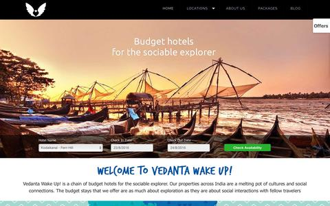 Screenshot of Home Page vedantawakeup.com - Budget hotels online booking, Backpacking hostels 40%Off - captured Aug. 23, 2016