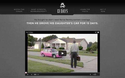 Screenshot of Home Page my13days.com - My 13 Days | Why You Need Rental Reimbursement Insurance - captured Sept. 23, 2014