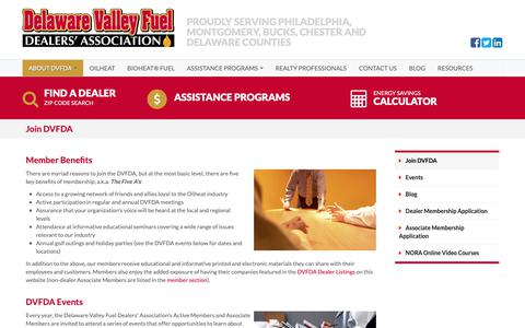 Screenshot of Signup Page dvfda.org - Delaware Valley Fuel Dealers' Association Membership and Events | DVFDA - captured Oct. 8, 2018