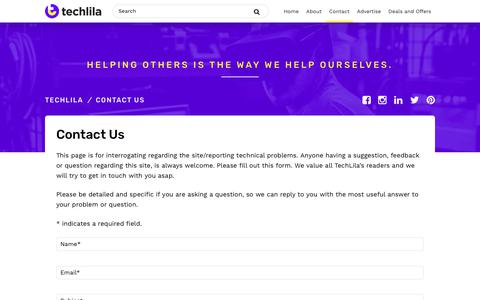 Screenshot of Contact Page techlila.com - Contact Us • TechLila - captured Sept. 20, 2018