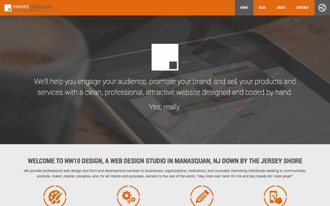Screenshot of Home Page nw10design.com - NW10 Design - Manasquan, NJ web design studio building hand-crafted client websites - captured Oct. 7, 2014