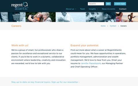 Screenshot of Jobs Page regentatlantic.com - Careers - RegentAtlantic - captured Aug. 13, 2016