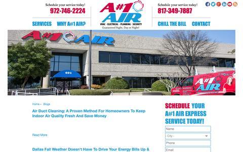Screenshot of Blog anumber1air.com - Blogs   A#1 Air - captured Oct. 3, 2014