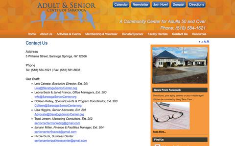Screenshot of Contact Page saratogaseniorcenter.org - Contact Us | Adult & Senior Center of Saratoga - captured Sept. 30, 2014