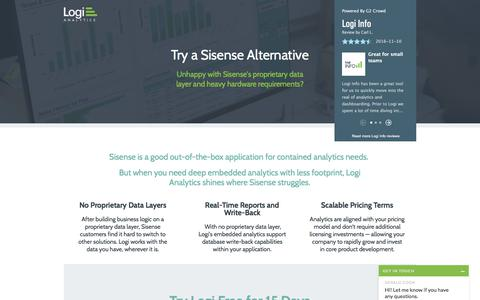Screenshot of Landing Page logianalytics.com - Sisense Alternative: Try Logi Analytics Free - captured Sept. 11, 2017