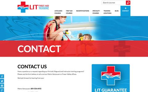 Screenshot of Contact Page firstaidtrainingcourses.ca - Contact Us | LIT First Aid and Lifeguard Training - captured Jan. 23, 2016