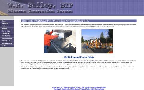 Screenshot of Home Page asphaltpellets.com - W.R. Bill Bailey - Bitumen Innovation Person (BIP) - captured Oct. 6, 2014