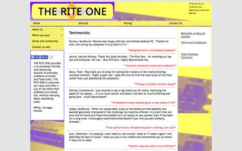Screenshot of Testimonials Page theriteone.co.uk - Testimonials for PC and laptop repairs in Sandhurst, Crowthorne, Camberley - captured Oct. 9, 2014