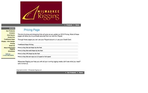 Screenshot of Pricing Page milwaukeerigging.com - Milwaukee Rigging LLC - Price Page - captured Oct. 26, 2014
