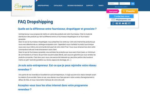 Screenshot of FAQ Page Support Page ecopresto.com - Réponses aux questions sur le dropshipping et le dropshipment - captured Oct. 22, 2014