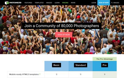 Screenshot of Signup Page Pricing Page photoshelter.com - Sign up for PhotoShelter - Host your photography website & sell photos | PhotoShelter - captured Jan. 12, 2016