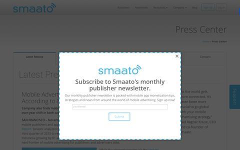 Screenshot of Press Page smaato.com - Smaato Press Releases - Smaato - captured Dec. 4, 2015