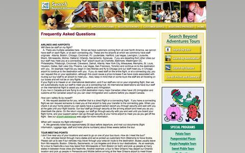 Screenshot of FAQ Page searchbeyond.com - Search Beyond Adventures - FAQ - Disability Travel and Tours - captured Oct. 27, 2014