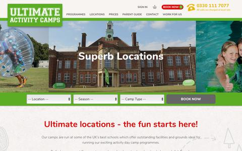 Screenshot of Locations Page ultimateactivity.co.uk - Locations | Ultimate Activity - captured Sept. 25, 2018