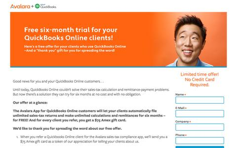 Screenshot of Trial Page avalara.com - QBO Free Trial Pro - Avalara Offers - captured Nov. 18, 2016