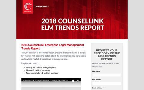 Screenshot of Landing Page lexisnexis.com - LexisNexis® CounselLink® Trends Report 2018 - captured April 25, 2018