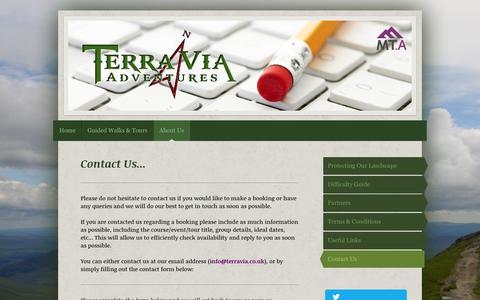 Screenshot of Contact Page terravia.co.uk - Terra Via - Contact Us - captured Feb. 14, 2016