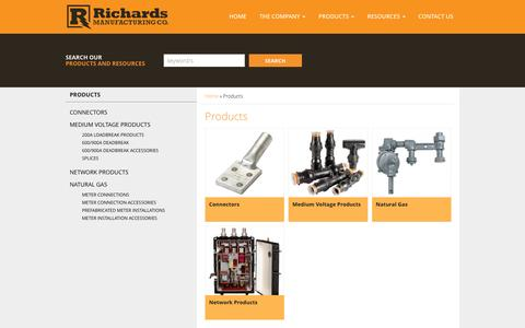 Screenshot of Products Page richards-mfg.com - Products | Richards Manufacturing - captured Dec. 1, 2016
