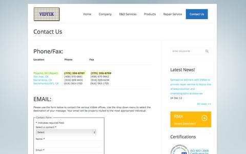 Screenshot of Contact Page vidtek.com - Contact Us | Vidtek Associates Inc. - captured Oct. 7, 2014