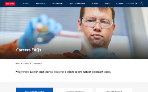 Screenshot of FAQ Page riotinto.com - Careers FAQs - captured Jan. 9, 2020