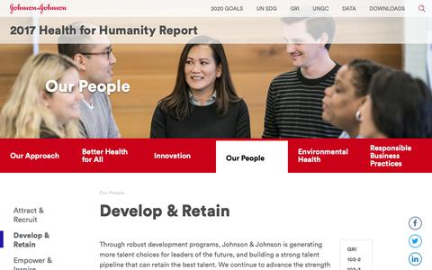 Screenshot of Team Page jnj.com - Develop & Retain - captured Oct. 31, 2018