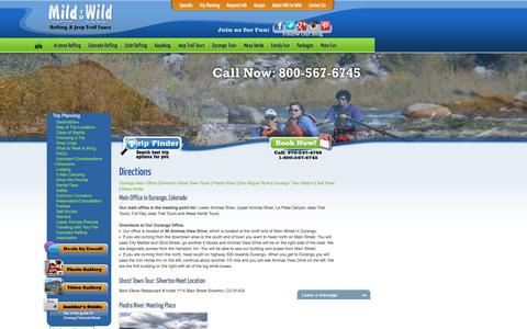 Screenshot of Maps & Directions Page mild2wildrafting.com - Directions - Colorado, Arizona, Utah Trips | Mild 2 Wild Rafting - captured Feb. 4, 2016