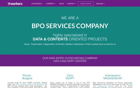 Screenshot of Team Page Locations Page oworkers.com - BPO SERVICES COMPANY in EMEA (Bulgaria) Egypt & Madagascar - captured July 8, 2018
