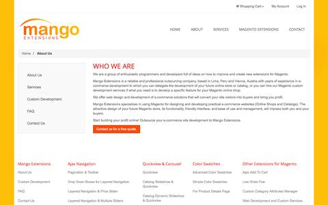 Screenshot of About Page mangoextensions.com - About  Us - captured Nov. 5, 2014